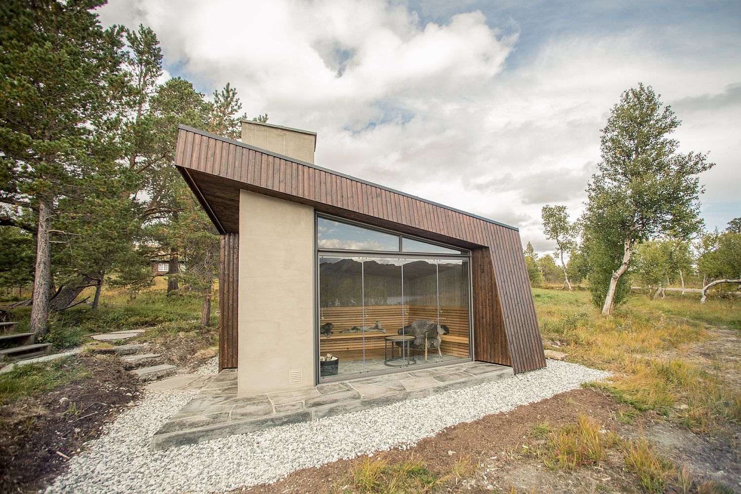 Angled form of the cabin gives it a unique silhouette
