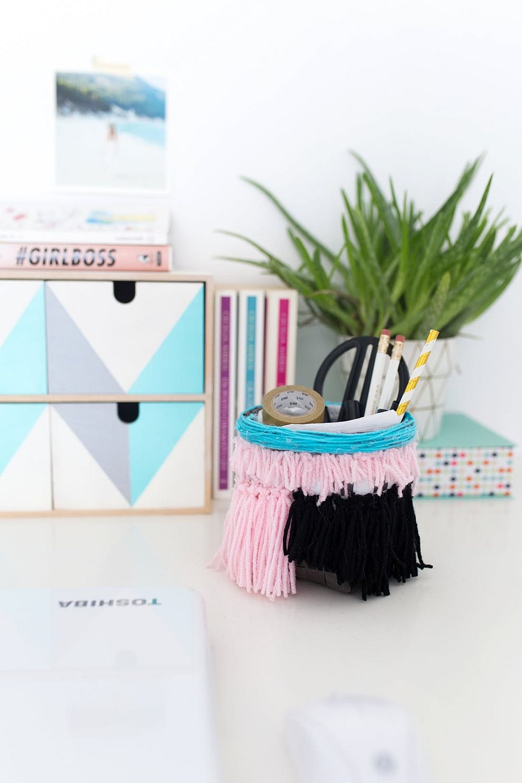 Anthropologie-inspired tasseled basket DIY