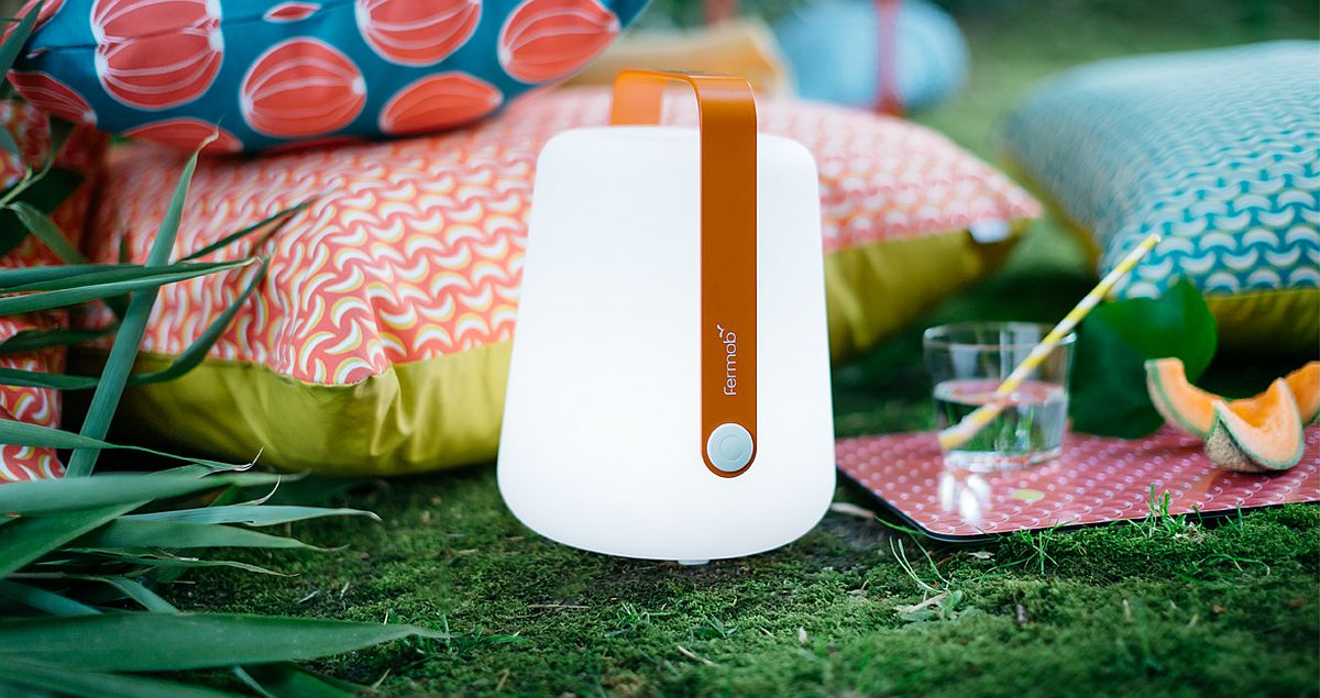 Balad outdoor lamp and comfy cushions create a magical and romantic outdoor retreat
