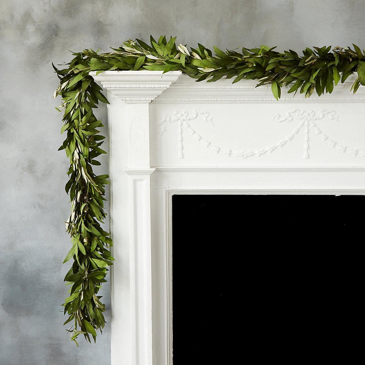 Bay leaf garland on a white mantel