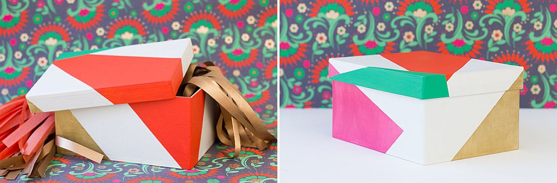 Beautiful and brilliant color blocked DIY gift boxes