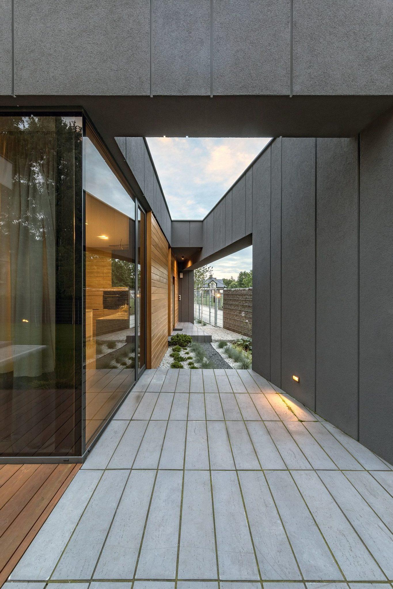 Beautifully illuminated entryway of the FIL House