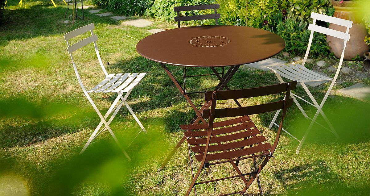 Bistro chairs keep outdoor decorating simple and efficient