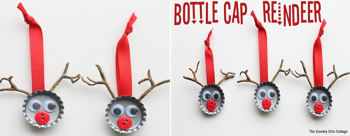 Bottle Cap Reindeer Idea