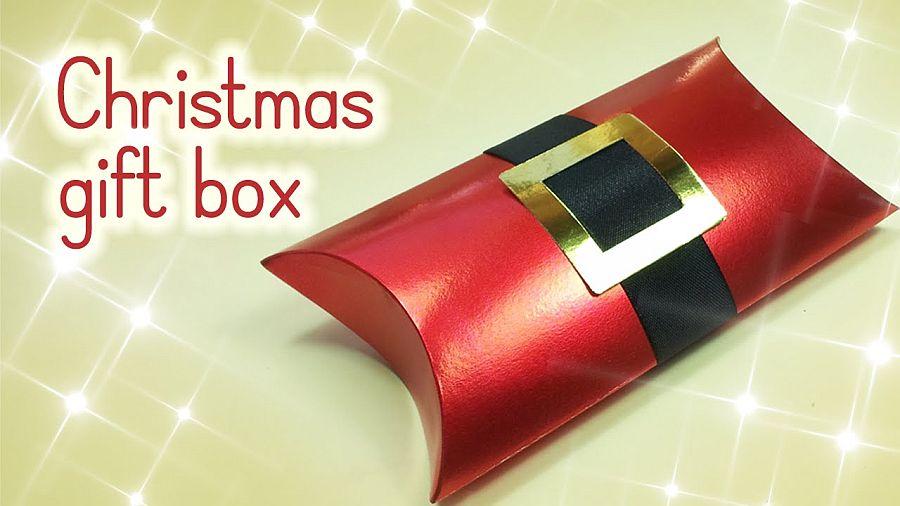 Christmas gift box made to look like Santa's midsection