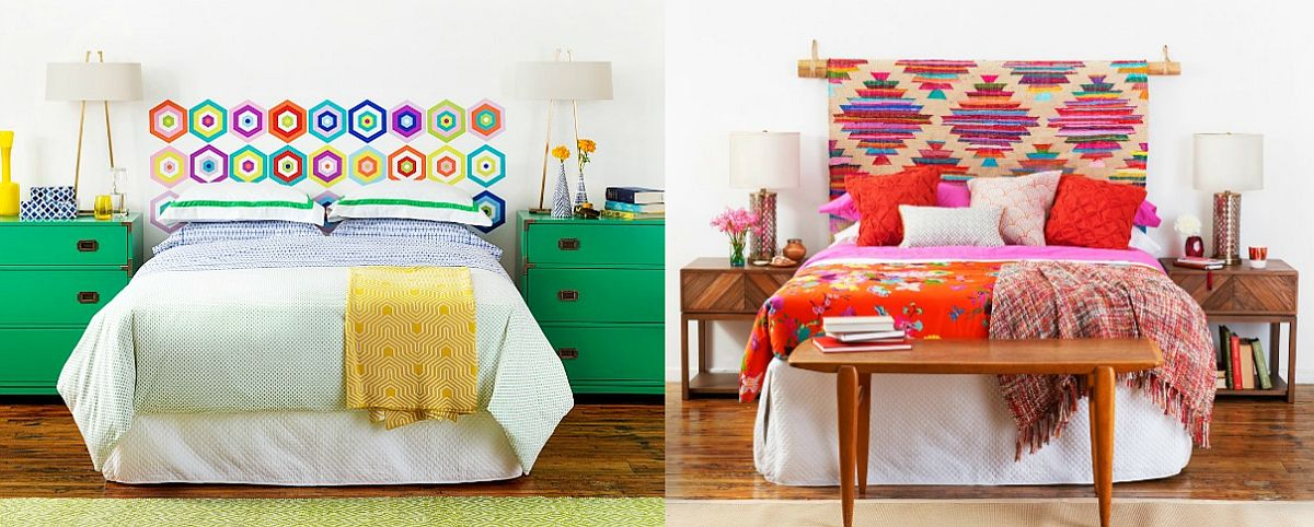 Brilliant DIY headboards crafted using rug and wall decals