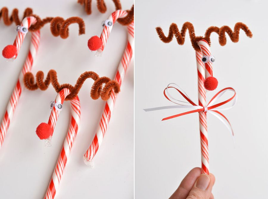 Candy Cane Reindeer Craft Idea for Christmas