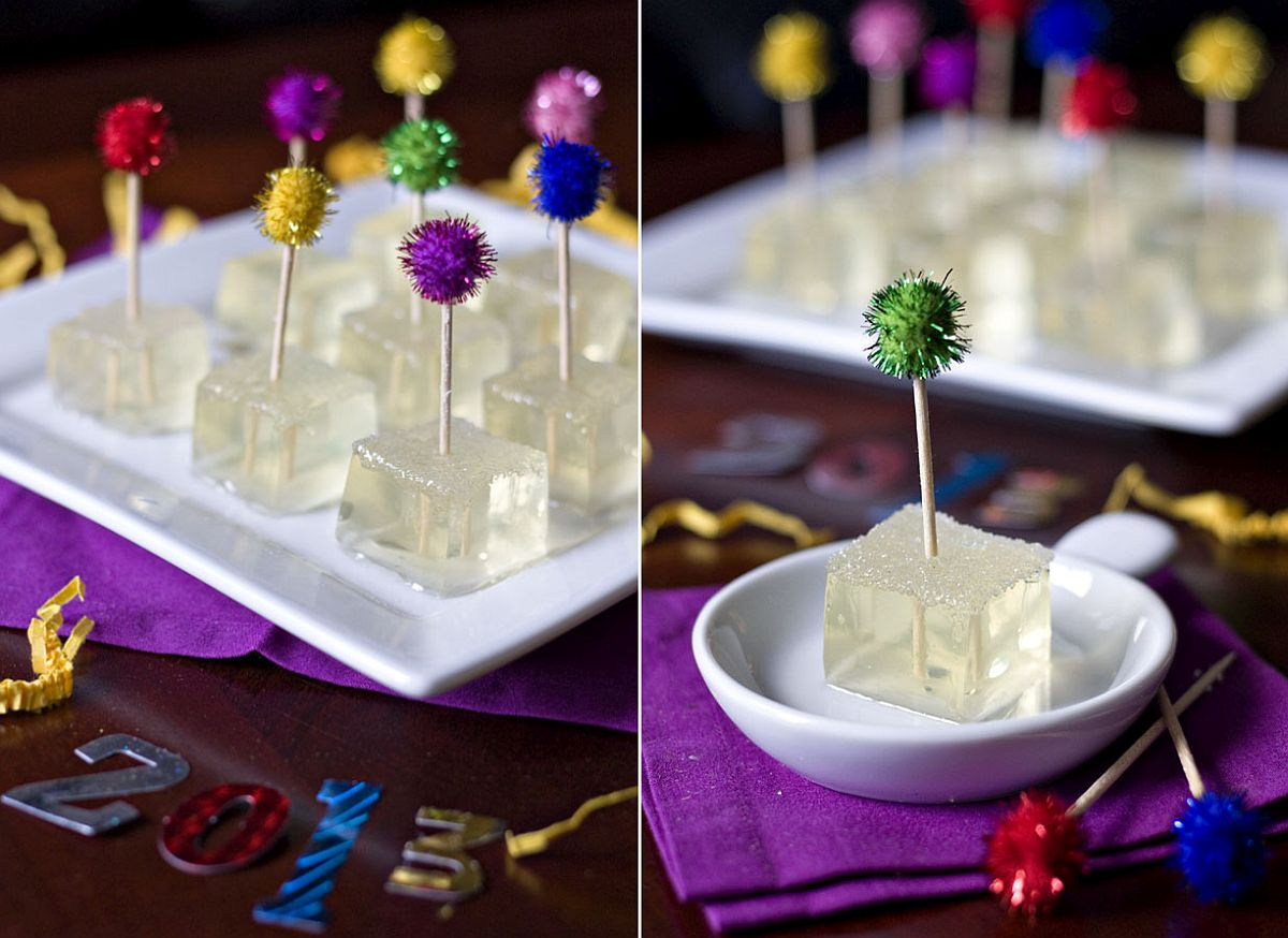 Champagne jello shots for New Year's Party