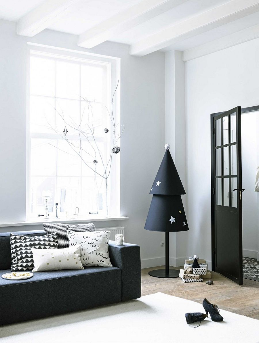 Christmas tree for the minimal Scandinavian home in black and white