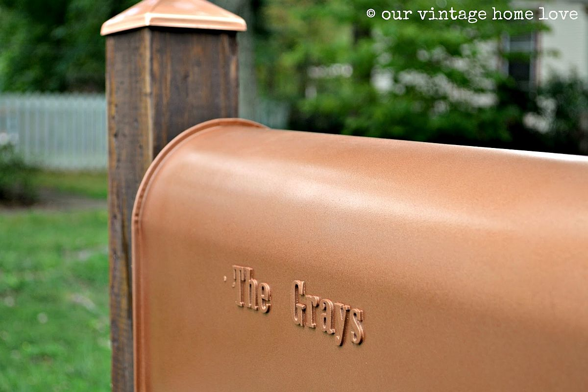 Closer look at the homemade copper mailbox