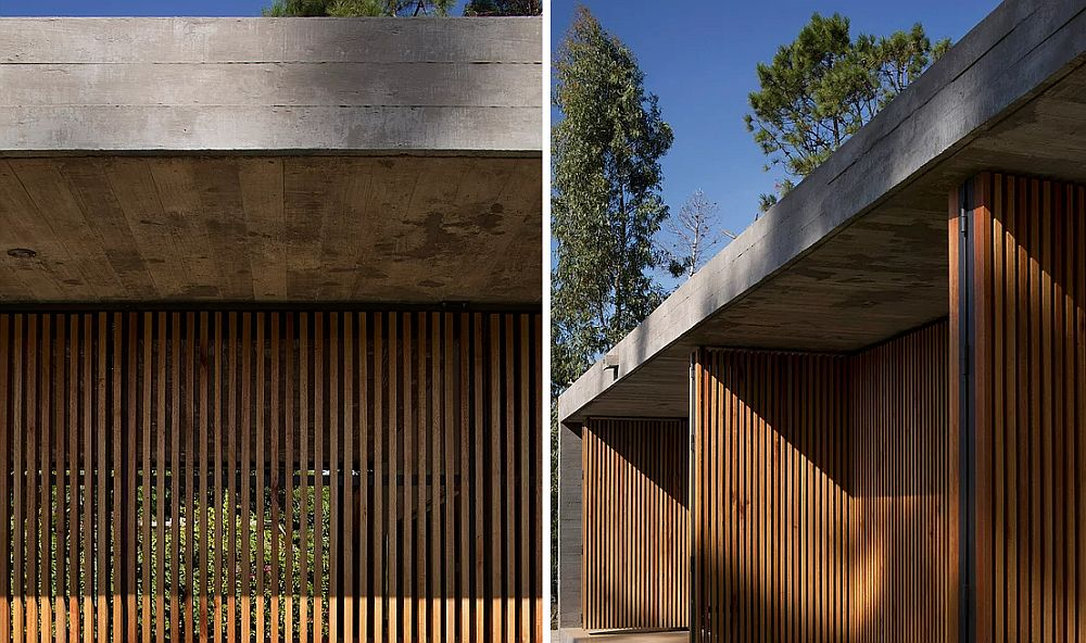 Closer look at the wooden-slat-clad facade of the house
