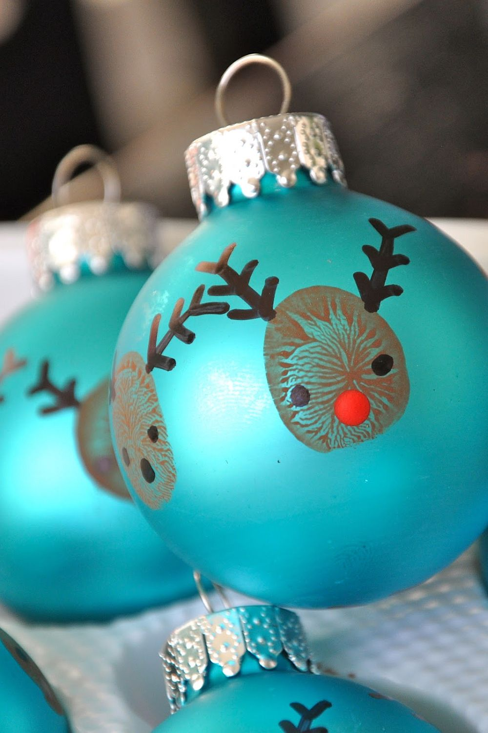 Colorful and creative Christmas ornaments with reindeer print