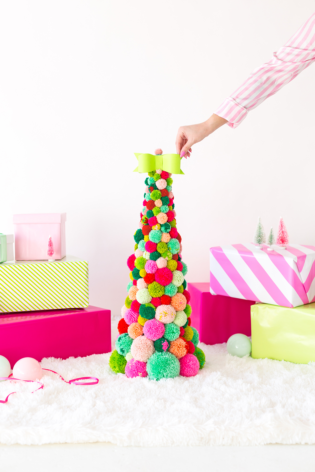 Colorful pom pom Christmas tree