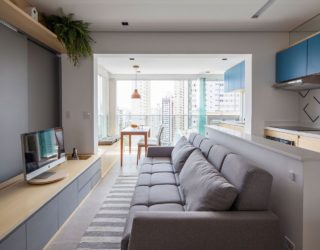 Sliding Doors and Multi-functional Wall Shape Tiny São Paulo Apartment