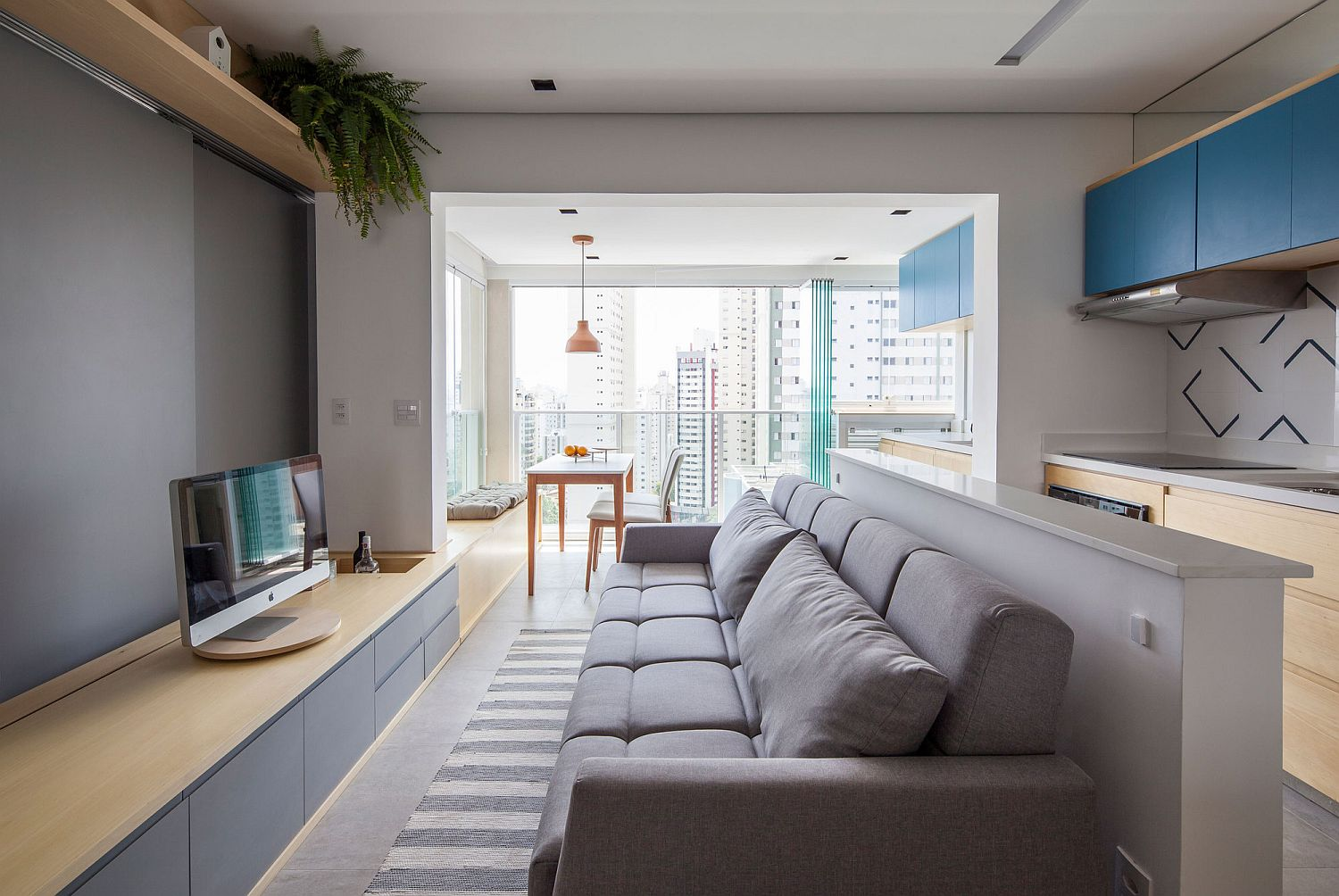 Comfy living area with plush sofa in gray