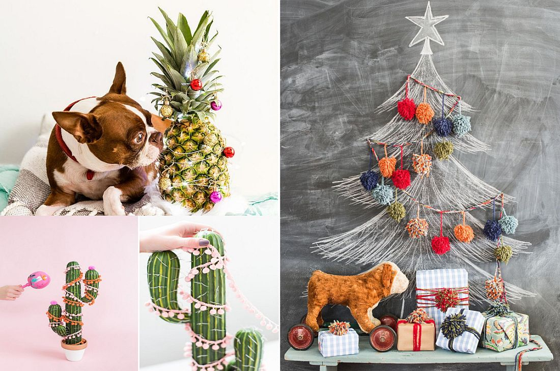 21 cool christmas tree alternatives including trendy decorated pineapples - Boston Terrier Outdoor Christmas Decoration