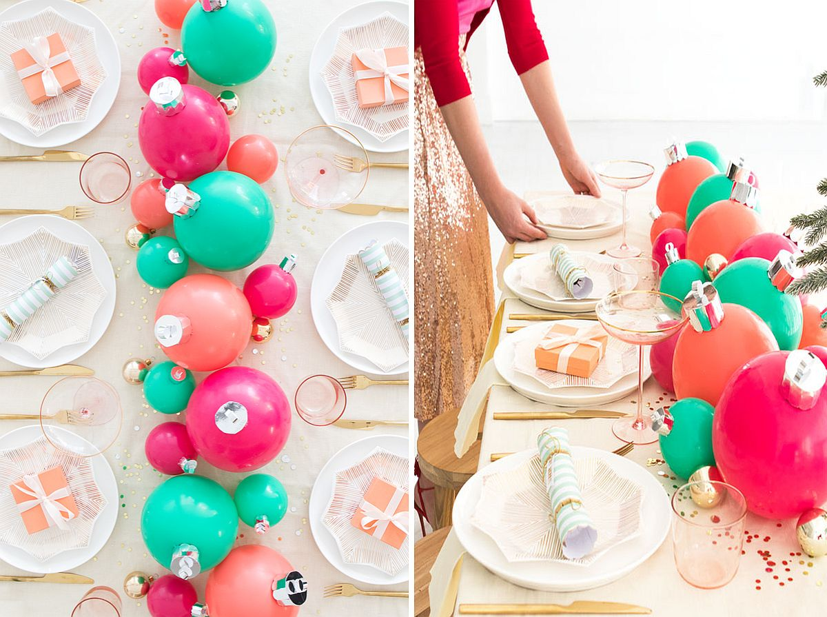 DIY Balloon Ornament Holiday Centerpiece
