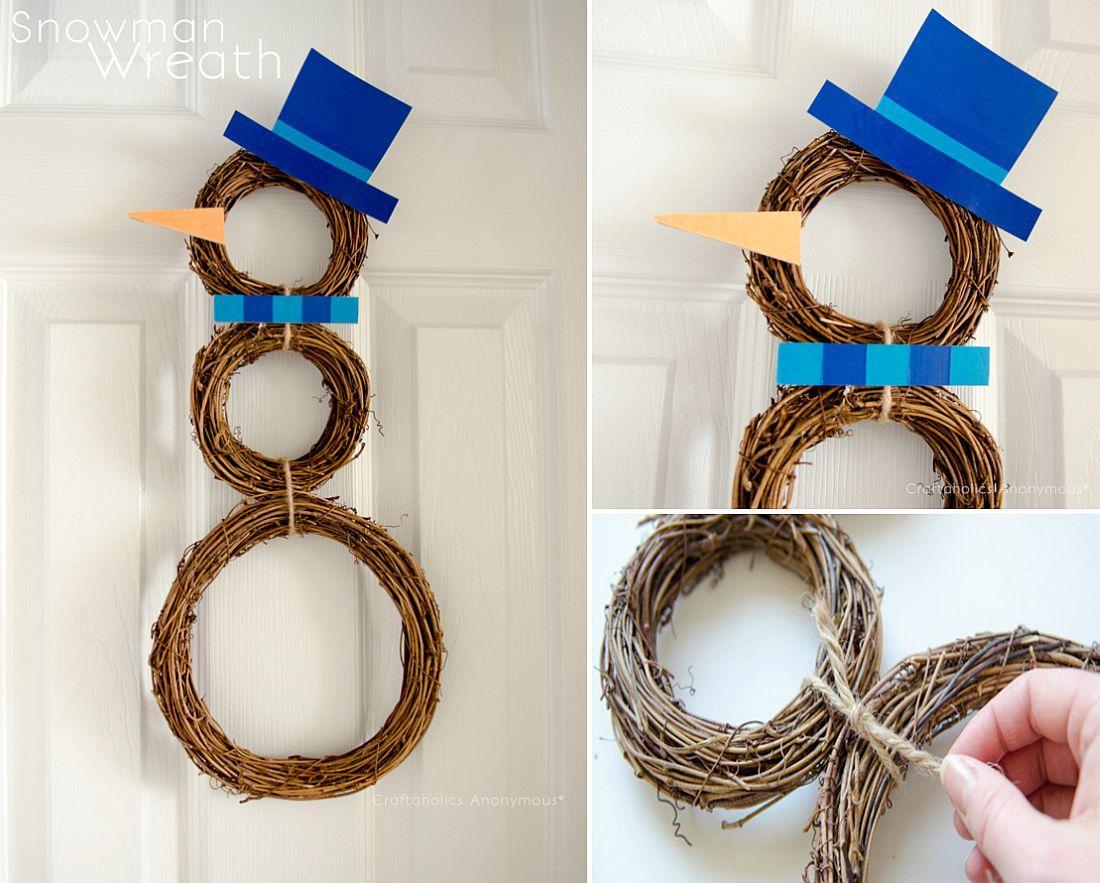 DIY Easy Snowman Wreath for Holidays