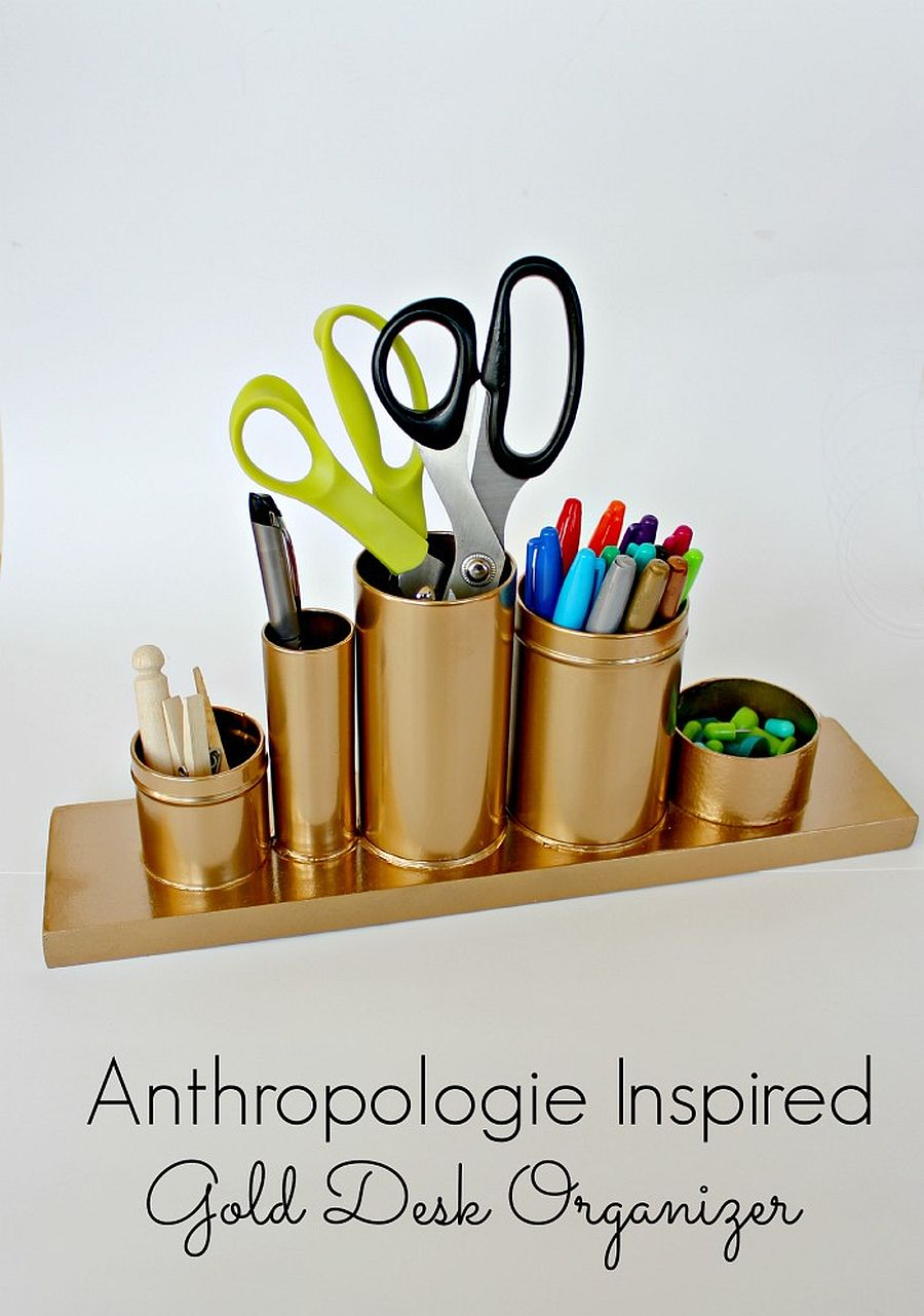 DIY Gold desk organizer inspired by Anthropologie