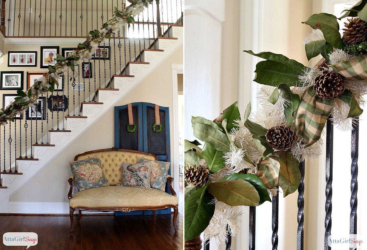 DIY Magnolia & Gilded Pinecone Christmas Garland