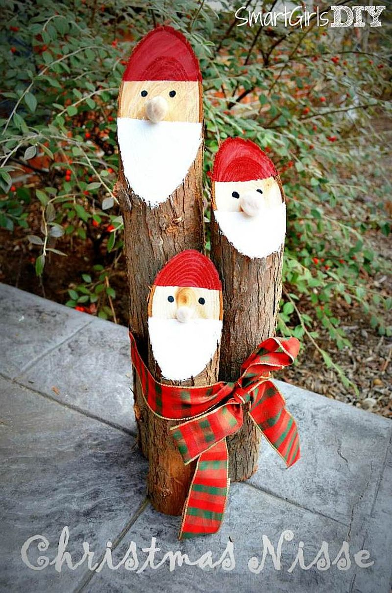 DIY Santa Logs to decorate the outdoors with Christmassy charm