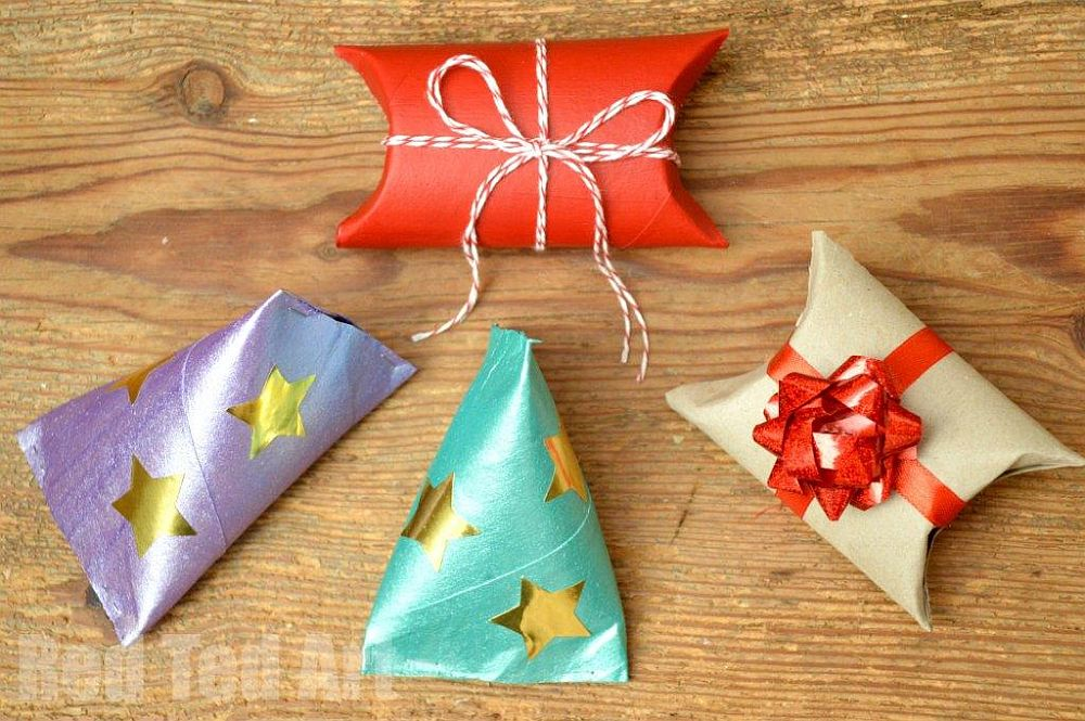 DIY toilet paper roll gift boxes