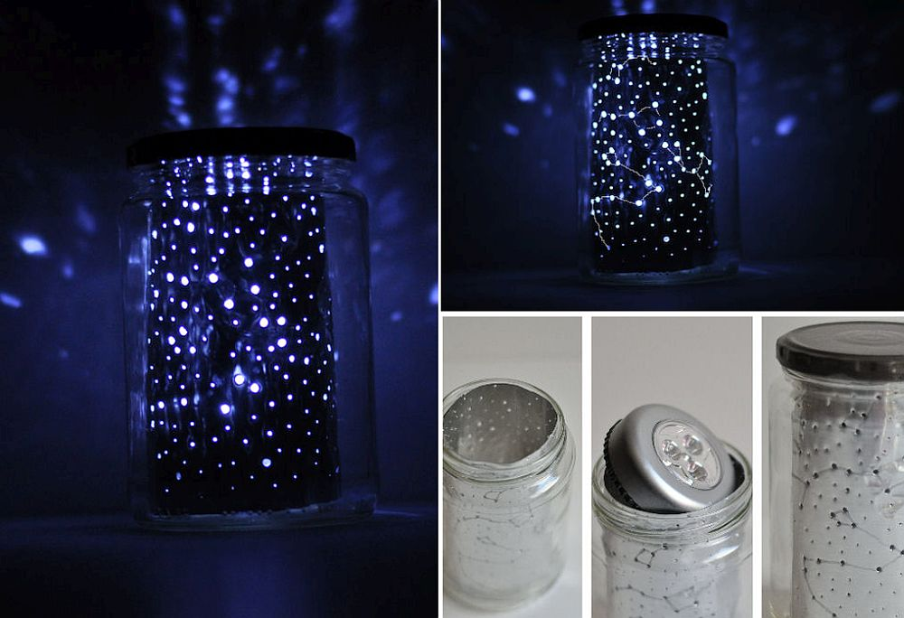 DIY constellation jar also serves as a great bedside table