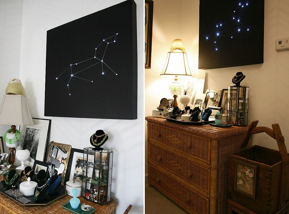 DIY constellation light for the space-themed bedroom