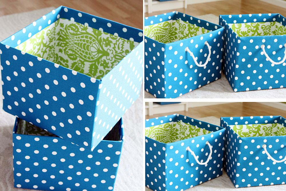 DIY fabric bins for a more organized bedroom