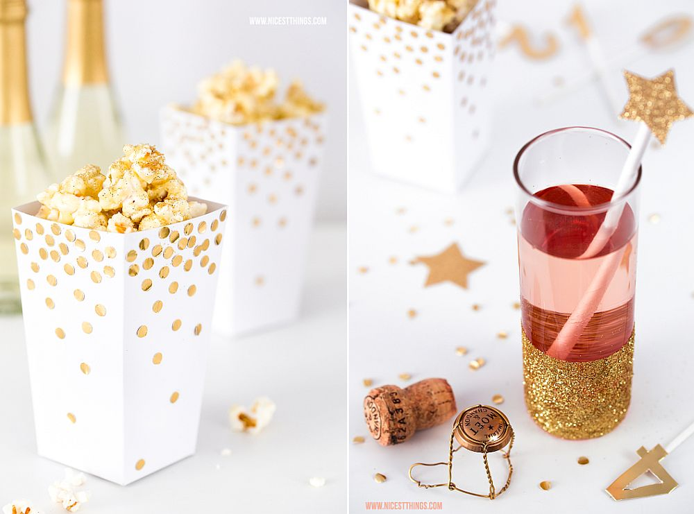 DIY popcorn boxes and glasses with golden glint