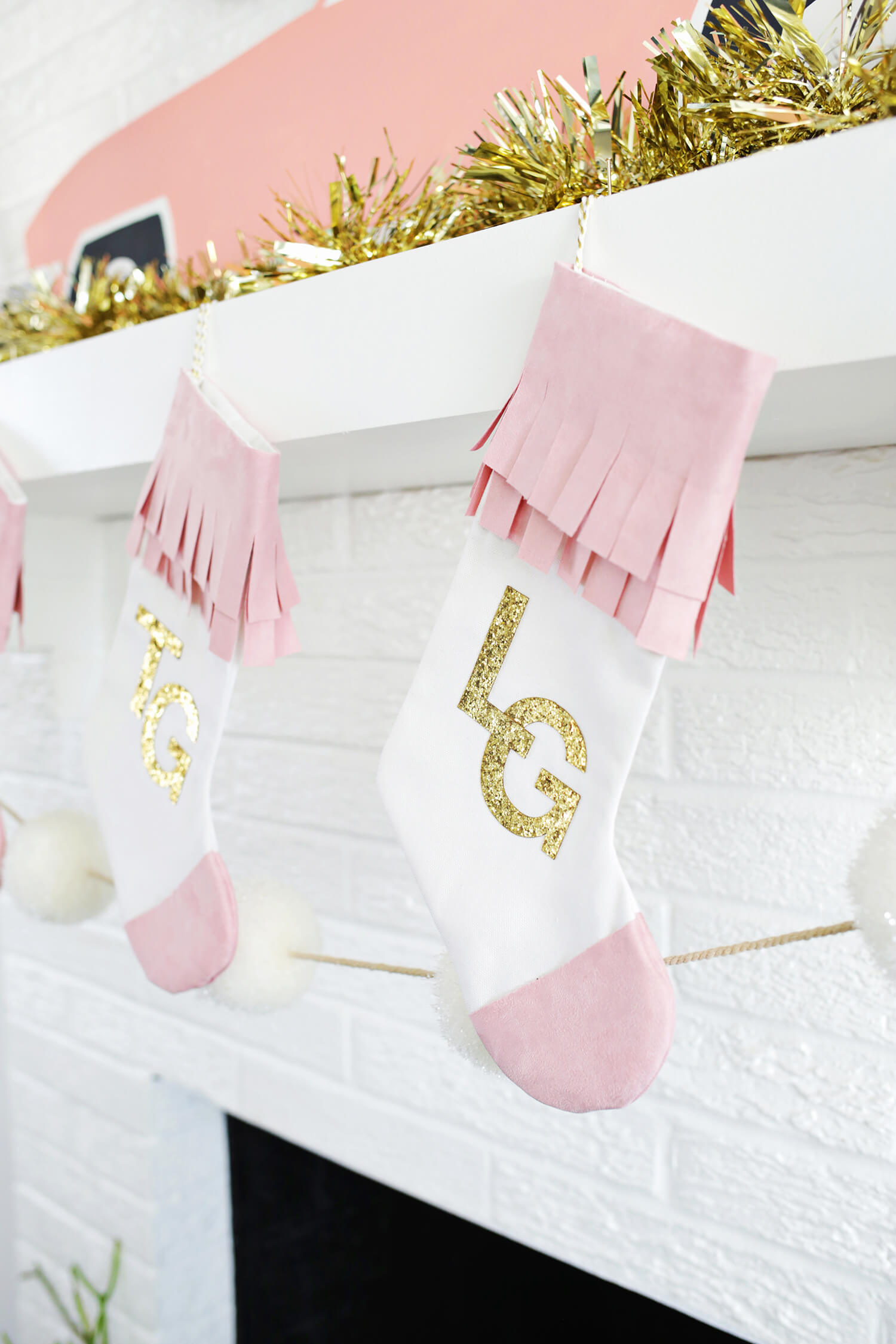 DIY stockings with faux suede trim