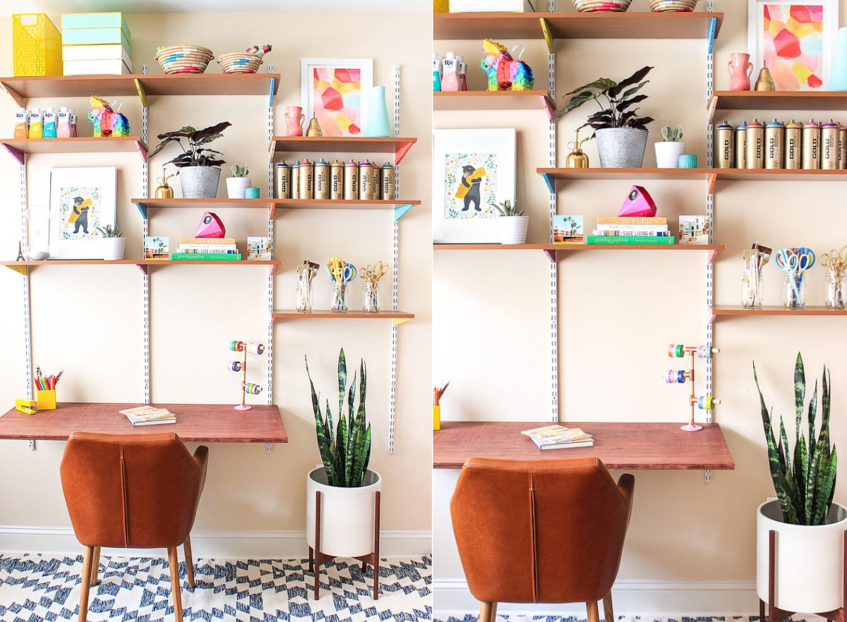 DIY wall mounted desk and shelving with multi-colored charm