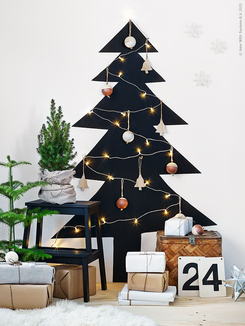 Dark Christmas tree motif in the backdrop with sparkling lighting