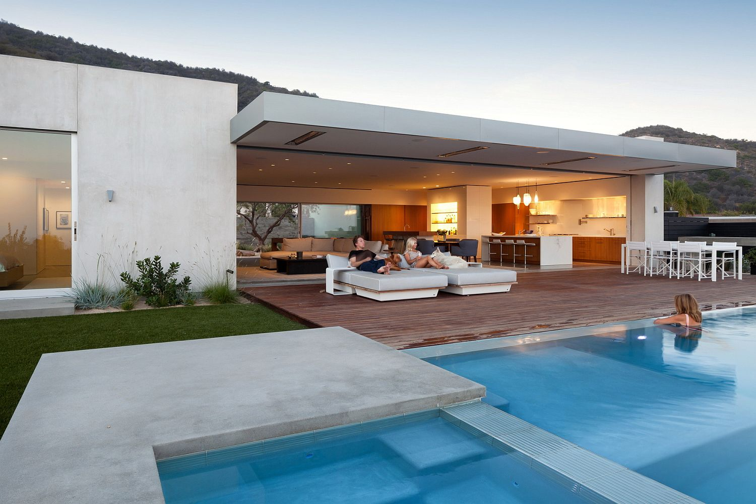 Deck garden and pool area are seamlessly and completely connected with the living space