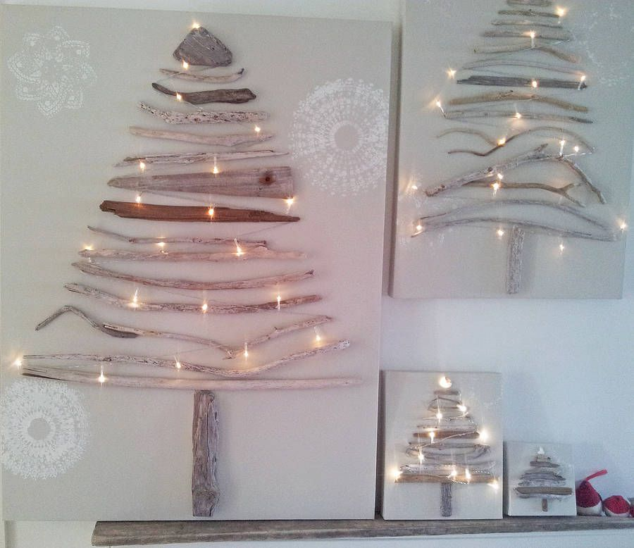Driftwood Christmas tree on a canvas
