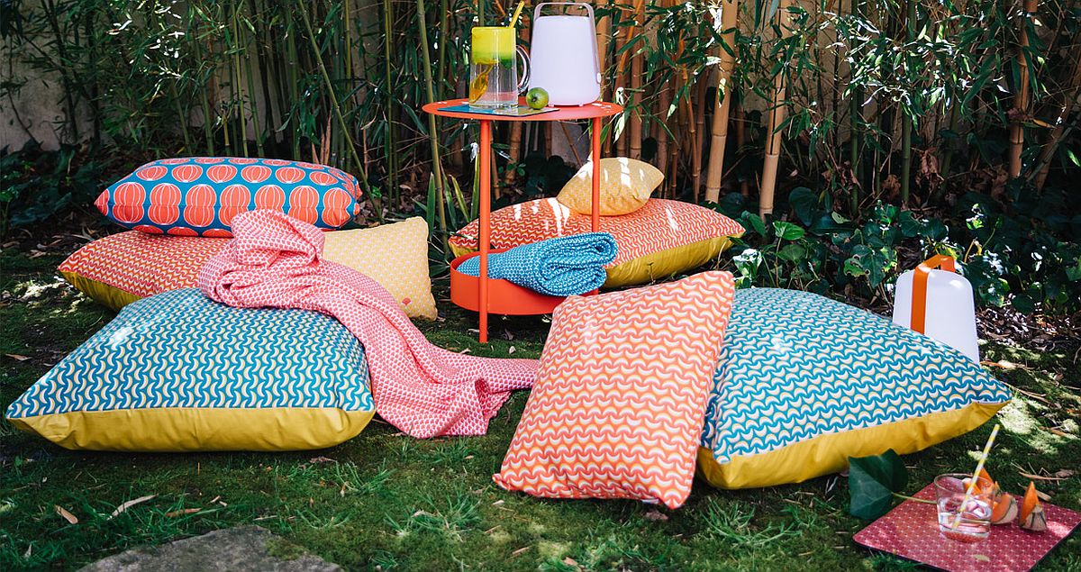 Durable outdoor cushions turn even the small yard into a cozy retreat