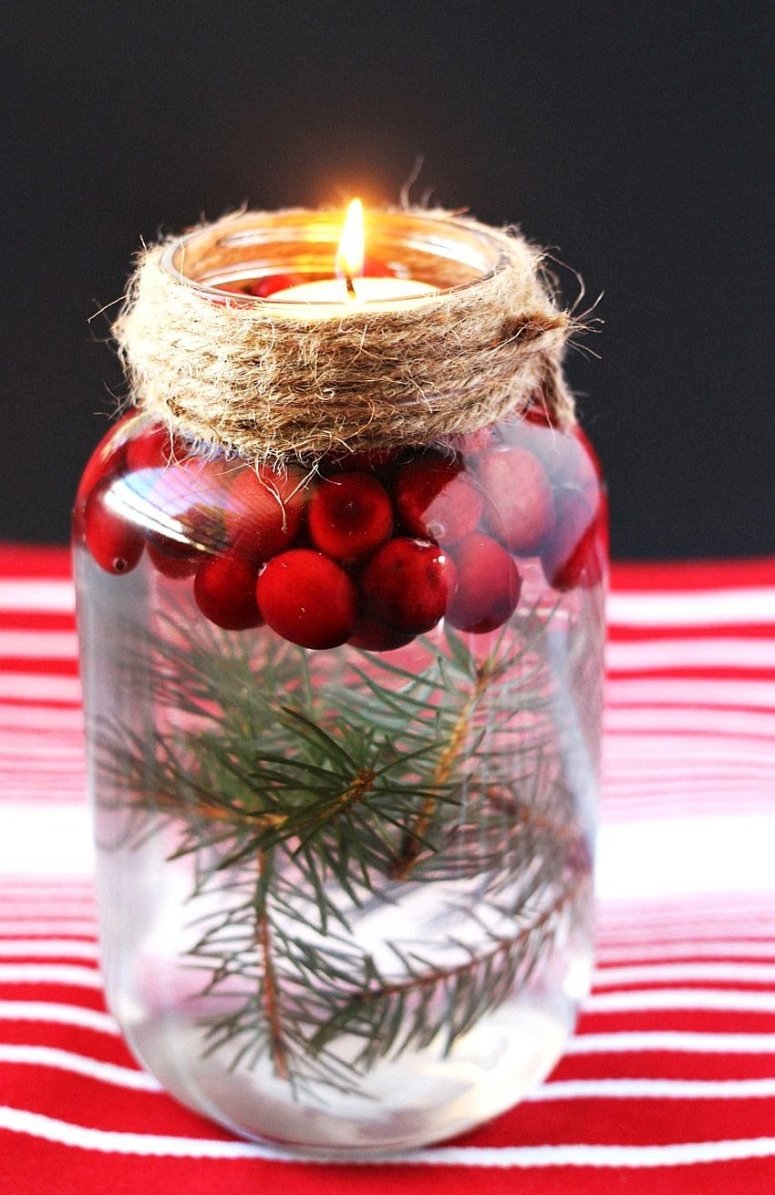 DIY mason jar Christmas candle