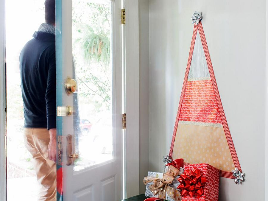 Easy and super-affordable way to decorate the entry for Christmas
