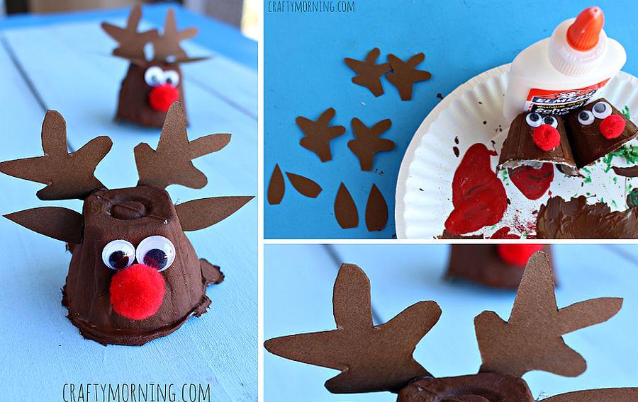 Egg Carton Reindeer Christmas Craft is super easy to make