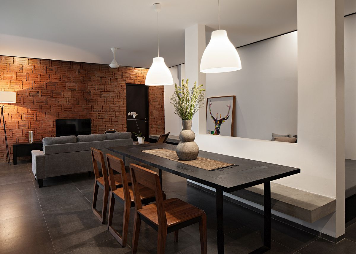Exceptional accent brick wall for the modern living room