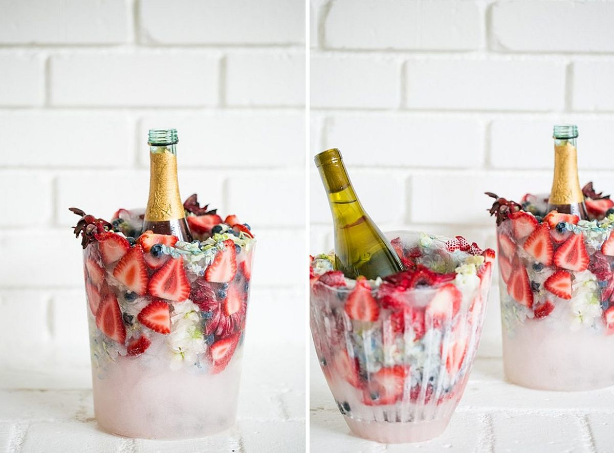 Exquisite DIY Floral Ice Bucket Idea