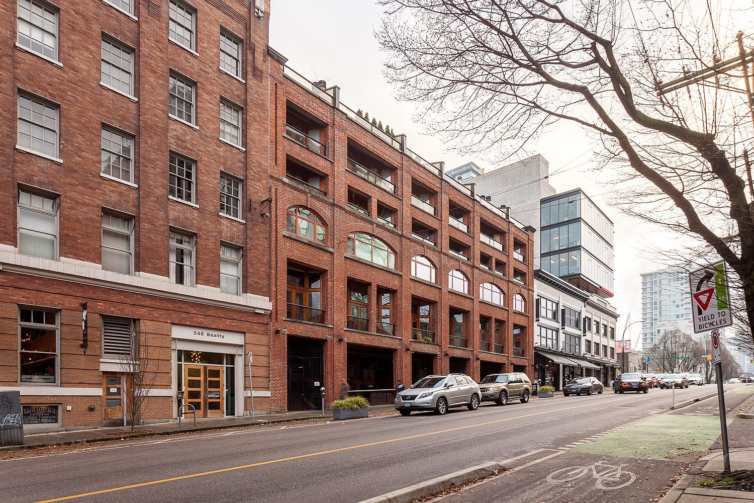 Exterior of the original Crane Lofts building turned into modern residential structure
