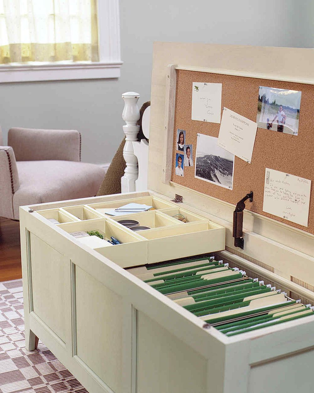 Fabulous and multi-tasking chest for an organized home office!