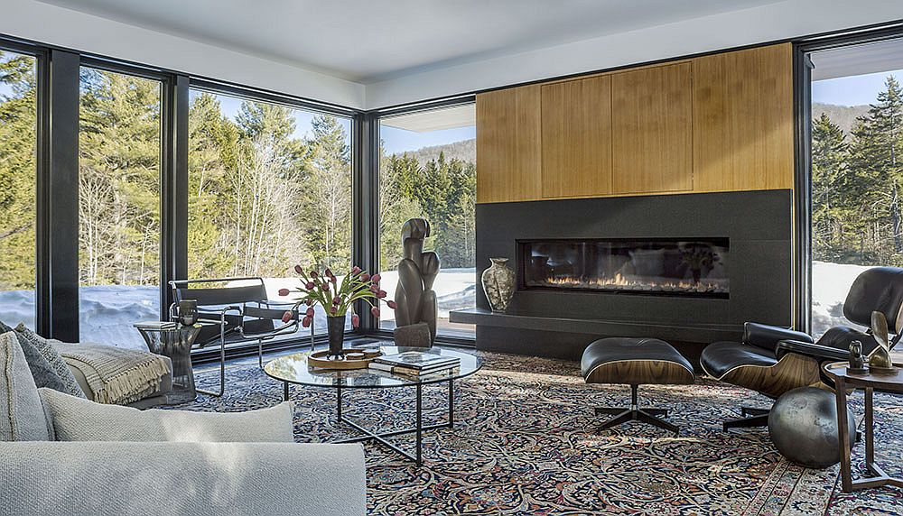 Fabulous fireplace in the living room becomes the focal point along with the view outside