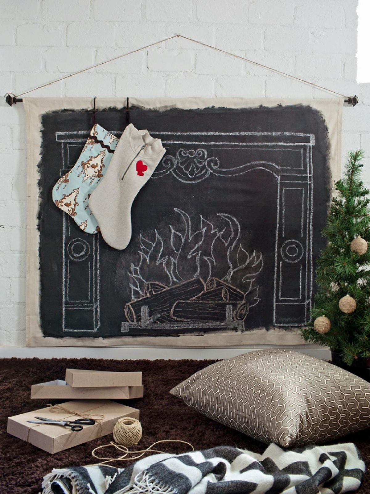 Faux mantel Christmas wall for those without a fireplace