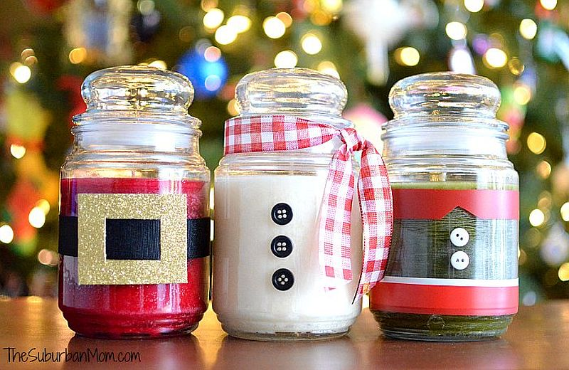 DIY Christmas Jar Candles crafted using tape, ribbons and a few buttons