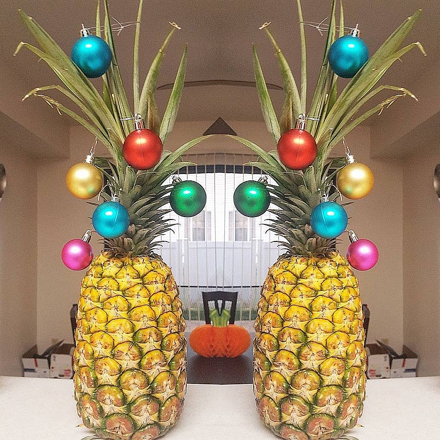 Festive baubles on a pineapple make for a fun Christmas tree alternative!