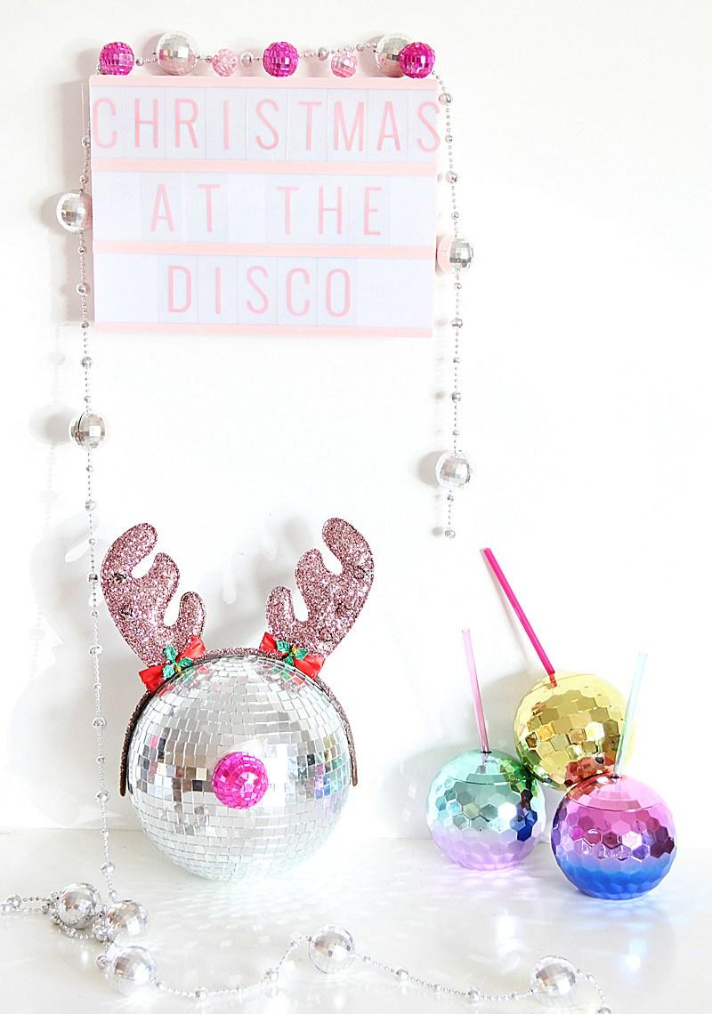 Festive disco ball rudolph
