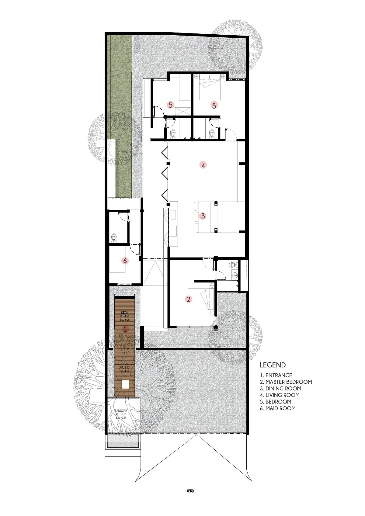 Floor plan of Mandanila House in Bali