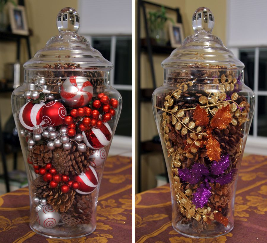 Glass jar filled with Christmas ornaments makes for easy Holiday decor